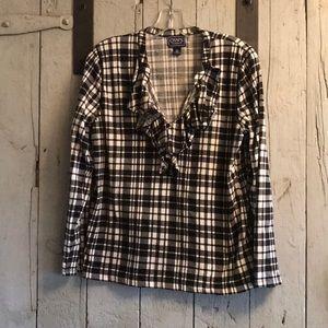 Chaps black and white plaid shirt
